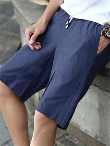 Comfy Casual Fashion Straight Elastic Waist Shorts
