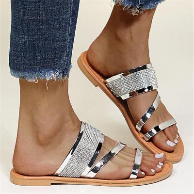 Feminine Elegant Shining Rhinestone Embellished Flat Rubber Sole Slides