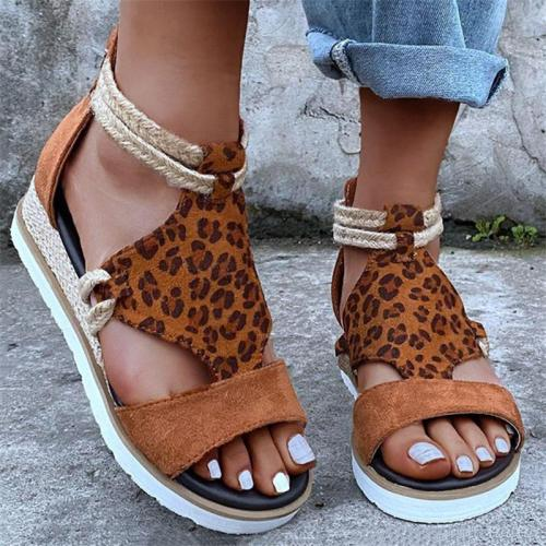 Braided Ankle-Strap Back Zipper Fastening Leopard Pattern Wedge Heel Sandals