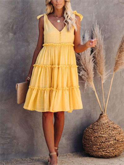 On-Trendy Sleeveless Ruffled Pleat Detailing Tie Shoulder Knee-Length Flare Dress