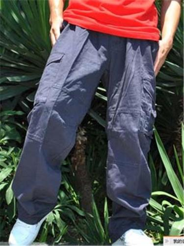 Oversized Loose Elastic Waist Work Pants With Pockets