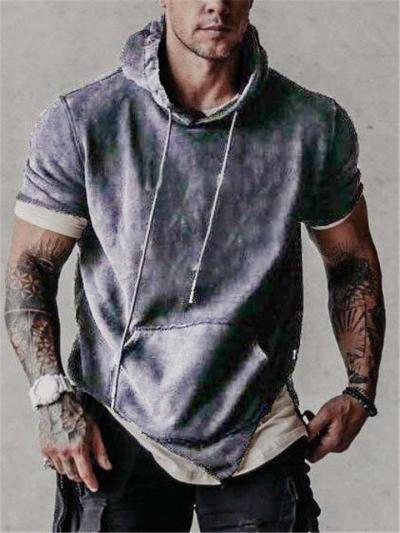 Mens Fashion Short Sleeve Patchwork Drawstring Hooded Hoodies