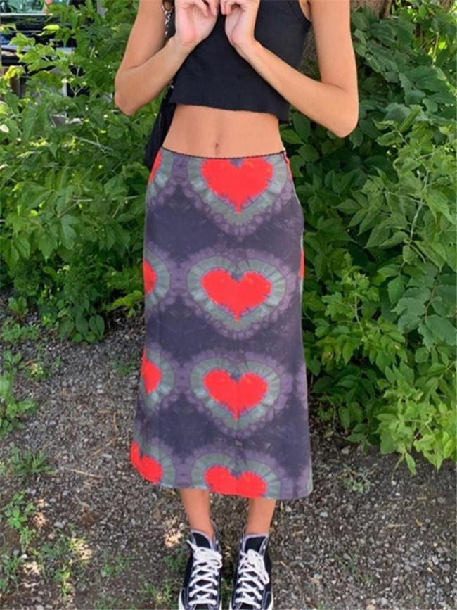 Low-Waist Vibrant Multicolor Pattern Print Flared Style Midi Skirt