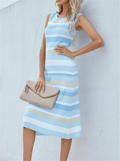 Knitted Sleeveless Striped Contrasting Color Crew Neck Midi Dress