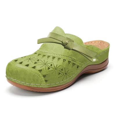 Front Bowknot Cutout Detailing Soft Footbed Backless Design Slippers