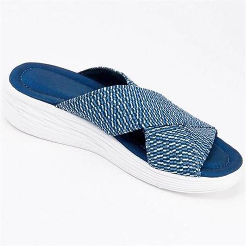 Soft Footbed Platform Cross Strap Interwoven Design Deodorant Slippers