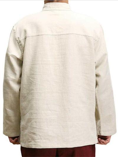 Mens Cotton Linen Loose Stand Collar Long Sleeve Shirts