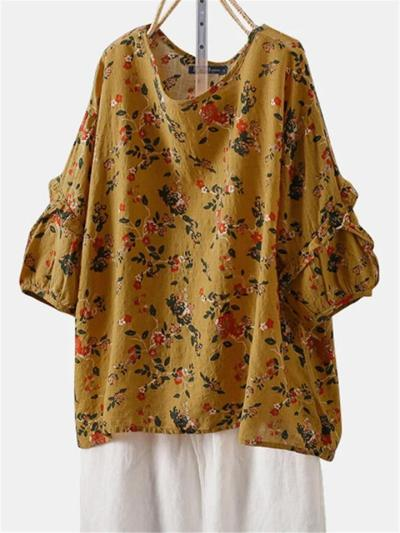 Pretty Relaxed Half Sleeve Loose Style Floral Print Lightweight Pullover Tops