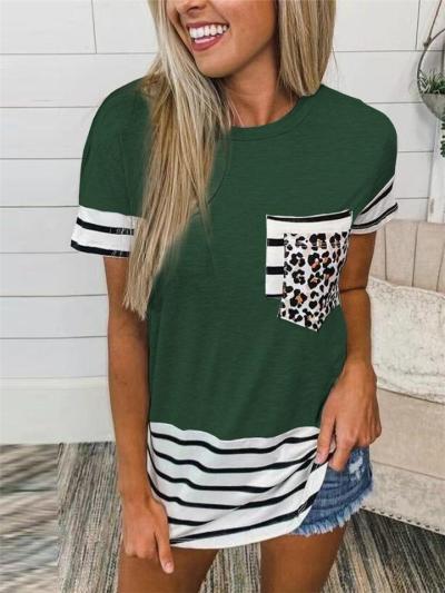Slouchy Leopard Stripe Print Crew Neck Chest Pocket Straight Hem T-Shirt