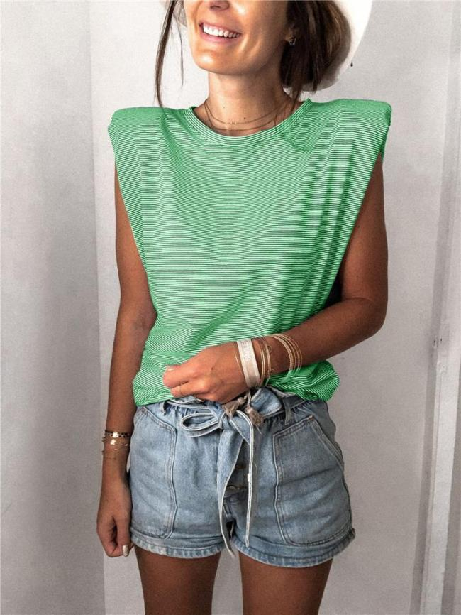 Soft Cotton Crew Neck Striped Sleeveless Shoulder Pad Pullover Tops