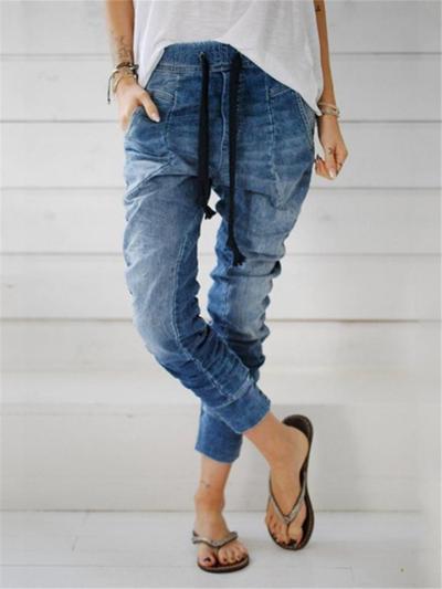 Classic Pocket Tapered Design Drawstring Fastening Regular Length Jeans