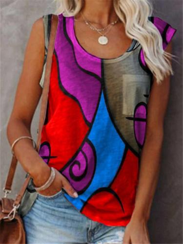 Laid-Back Patchwork Abstract Print Chest Pocket U-Neck Straight Hem Vest