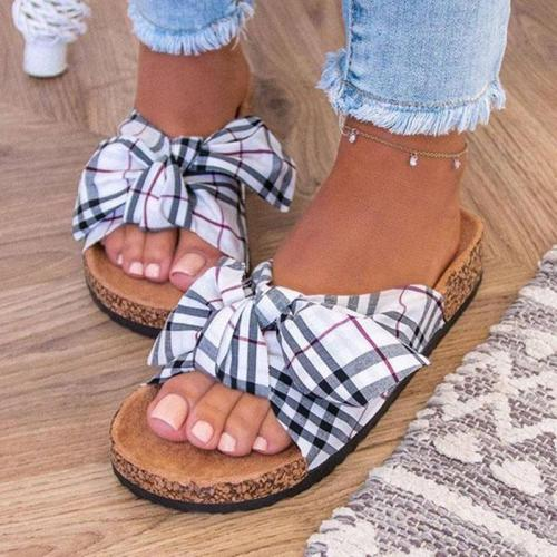 Classic Checked Pattern Front Bowknot Platform-Sole Flat Slippers