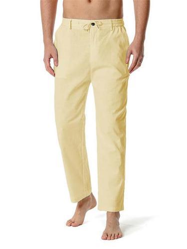 Mens Casual Straight Elastic Waist Sports Pants