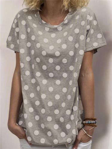 Relaxed Shaped Oversized Style Crew Neck Polka Dot Straight Hem Pullover T-Shirt