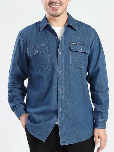 Mens Causal Thin Denim Long Sleeve Shirts