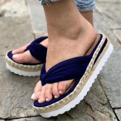Casual High Platform Flat Ridged Rubber Sole Flip-Flops Thong Style Slippers