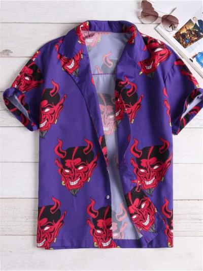 Loose Casual Evil Print Short Sleeve Shirts