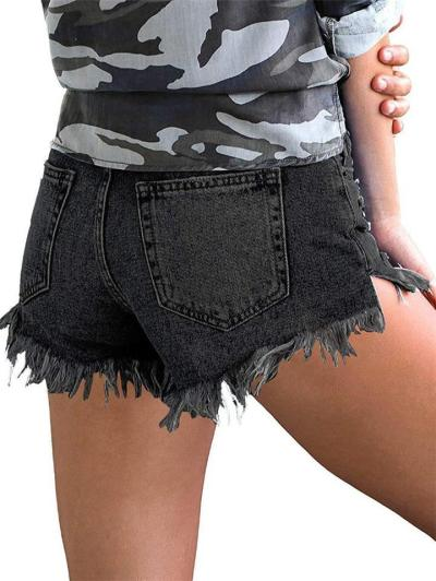 Classic Pocket Button Zip Fly Frayed Hem Distressed-Finish Denim Shorts