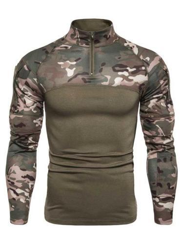 Outdoor Tactical Camo Side Zipper Long Sleeve T-Shirts