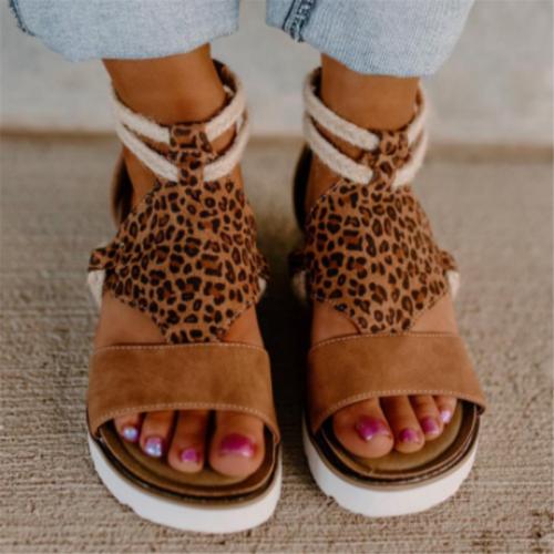 Braided Ankle-Strap Back Zipper Fastening Leopard Pattern Wedge Heel Sandals