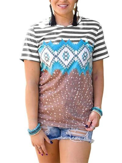 Vibrant Geometric Bohemian Pattern Crew Neck Striped T-Shirt