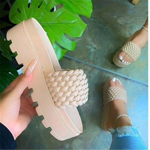 Slip-On Woven-Style High-Platform Ridged Rubber Sole Open Toe Sandals