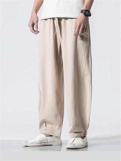 Mens Loose Solid Color Elastic Waist Pants