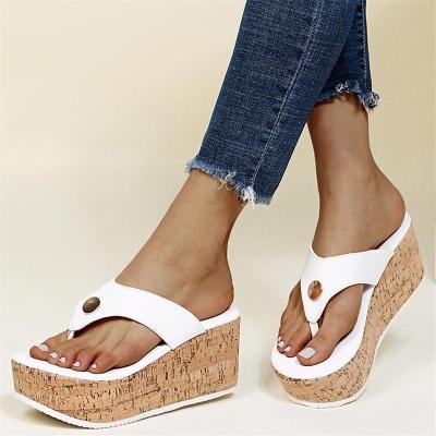 Slip-On Style Contrasting Sole Platform Wedge Flip Flops Slippers