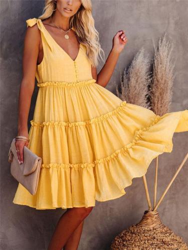 On-Trendy Sleeveless Ruffled Pleat Detailing Tie Shoulder Knee-Length Flare Dress