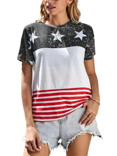 Slouchy Oversized Star Flag Print Crew Neck Cotton-Blend Straight Hem T-Shirt
