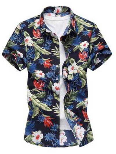 Loose Fashion Floral Print Vacation Short Sleeve Shirts