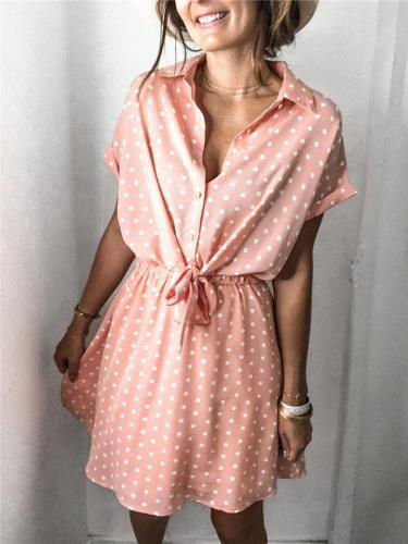Front Button Tied Waist Classic Collar Polka Dot Thigh-Length Shirt Dress