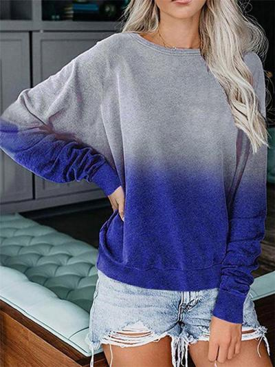 Loose Style Crew Neck Gradient Color Long Sleeve Straight Hem Tops