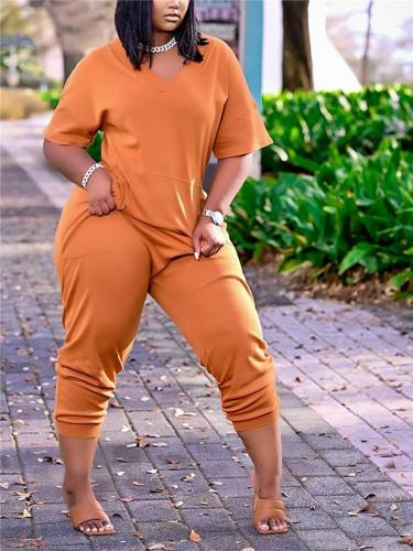 Laid-Back Relaxed Style V Neck Short Sleeve Pocket Tapered Fit Jumpsuit
