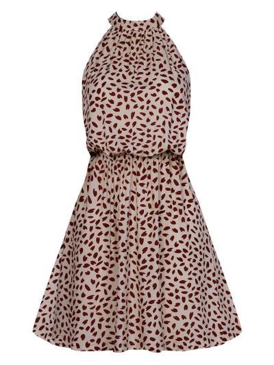 Rear Tie Fastening Halter Neck Polka Dot High-Length Elastic Waist Dress