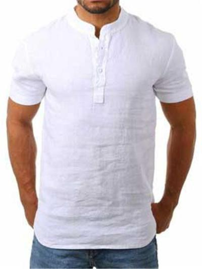 Mens Casual Linen Pure Color Short Sleeve Shirts