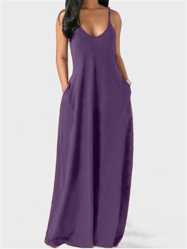 Oversized Fit Scoop Neck Spaghetti Strap Pocket Pullover Maxi Dress