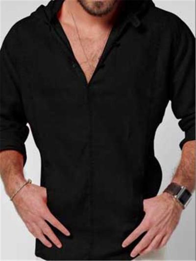 Mens Casual Plain Hooded Long Sleeve T-Shirts