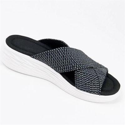 Soft Footbed Platform Cross Strap Interwoven Design Deodorant Slippers