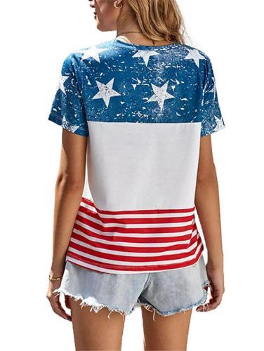 Slouchy Oversized Star Flag Print Crew Neck Cotton-Blend Straight Hem T-Shirt