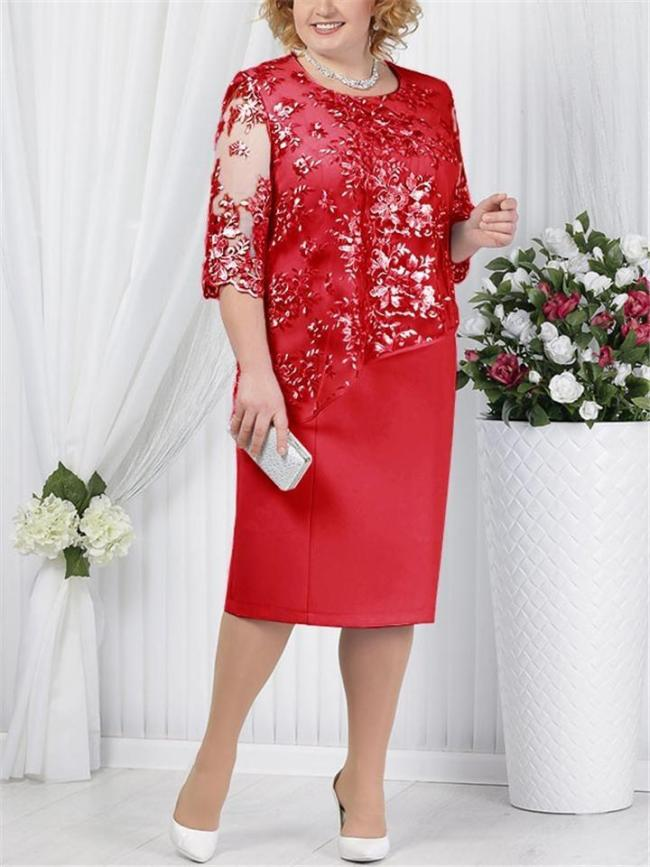 Soft Touch Asymmetric Floral Lace Straight Hem See-Through Half Sleeve Dress