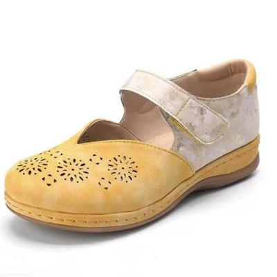 Fresh Feeling Flat Sole Cutout Detailing Velcro Fastening Closed-Toe Shoes