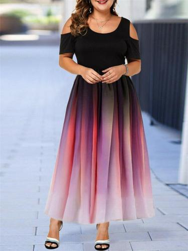 Oversized Round Neck Shoulder Cutout Gradient A Lined Dress for Party