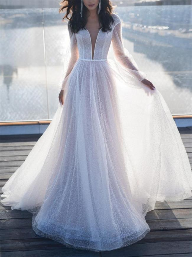 Flowing Low V Neck Fitted Waist Long Sleeve Maxi Dress for Wedding