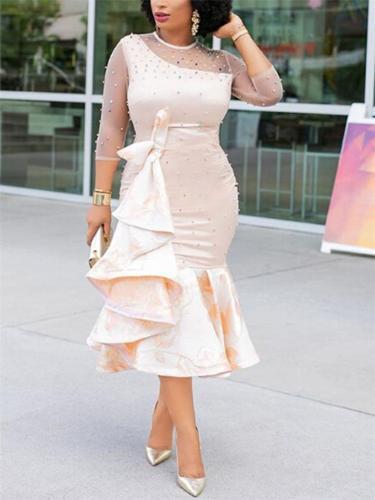 Stunning Ruffle Design Rhinestone Deco Mermaid Dress for Prom