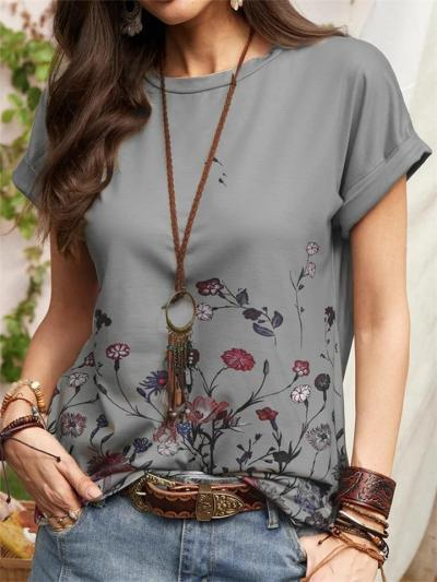 Casual-Cut On-Trendy Floral Print Straight Hem Crew Neck T-Shirt