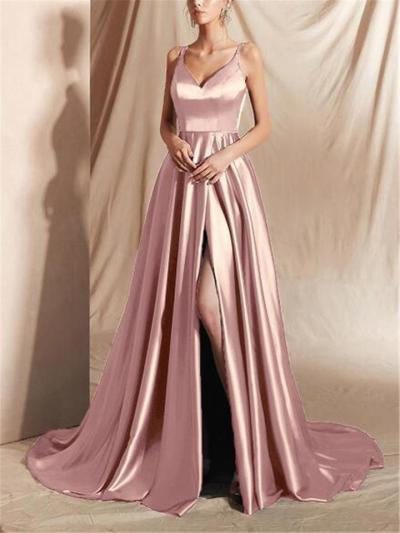 Decent Thigh High Slit Sweep Train Strappy Gown for Evening Party