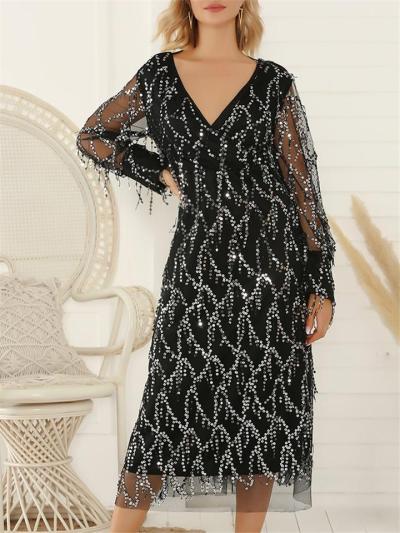 Glamorous V Neck Fringed Sequined Tulle Dress for Prom