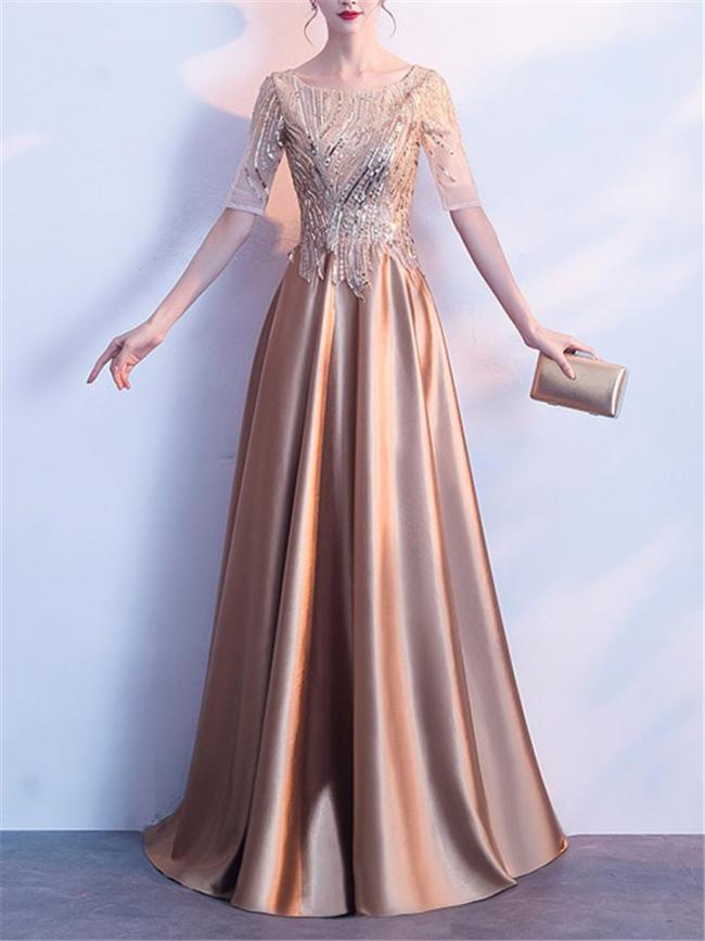 Shiny Round Neck Short Sleeve A-Lined Gown Dress for Evening